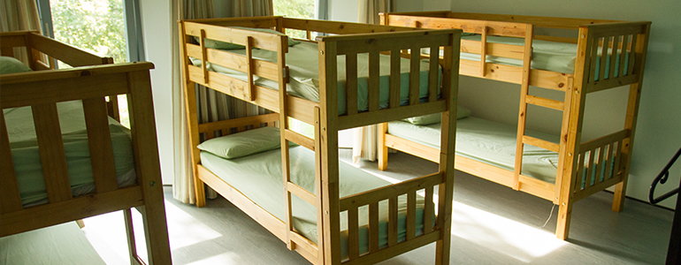 Both bunks and single beds are available